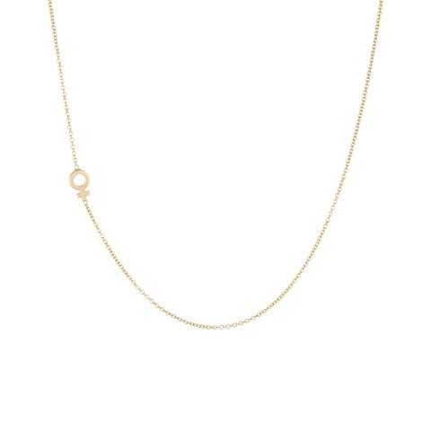 Venus Side Charm Necklace | 14k Yellow Gold | The Storm Jewelry | Equality Collection | Fine Jewelry Made in Los Angeles - committed to empowering female equality, celebrating forever friendships & championing future generations of women.