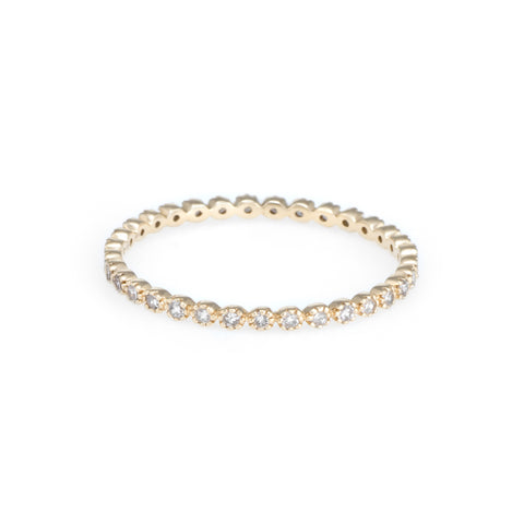 Round Bezel Diamond Eternity Ring | 14k Yellow Gold | The Storm Jewelry | Fine Jewelry Made in Los Angeles - committed to empowering female equality, celebrating forever friendships & championing future generations of women.