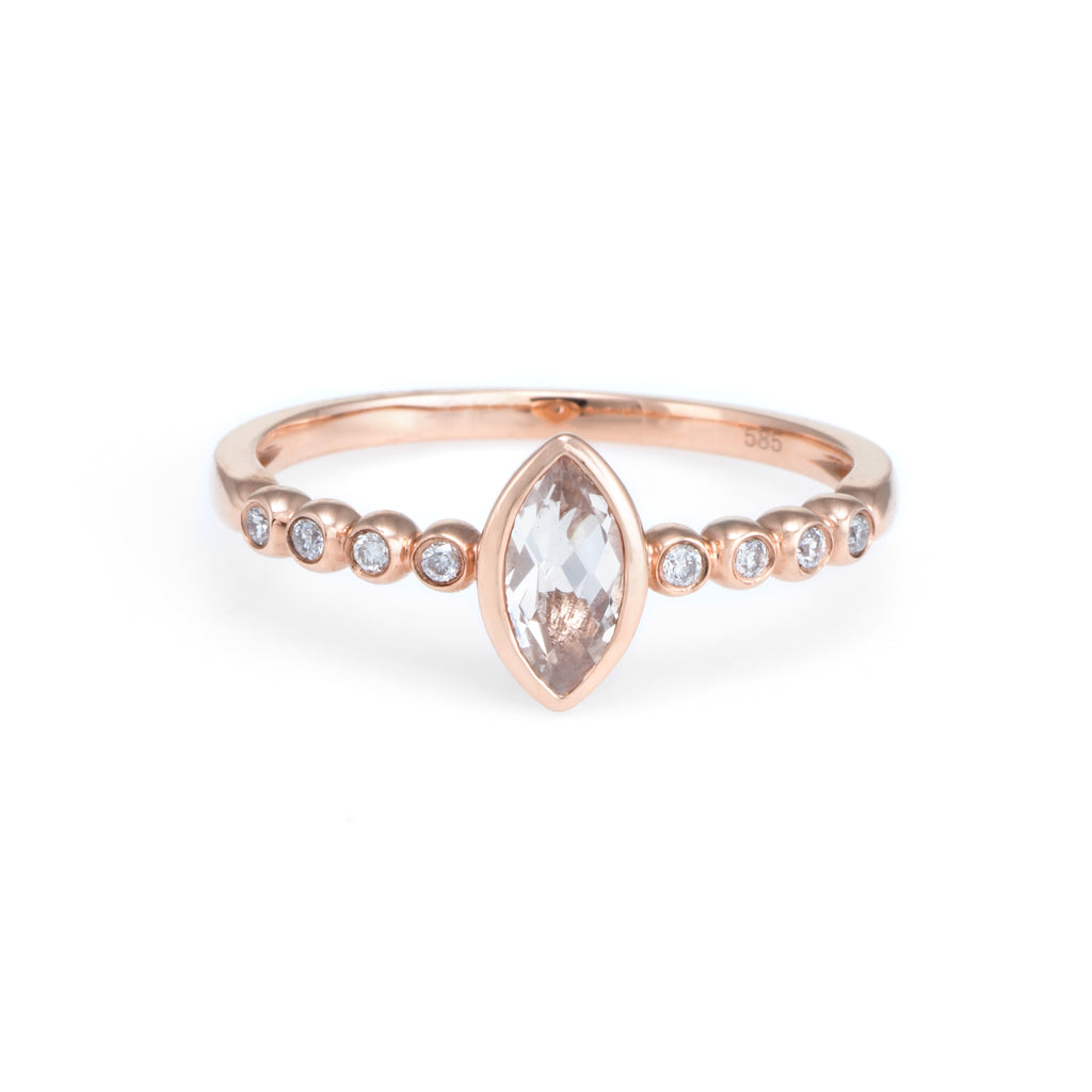 Pink Morganite Bezel Ring | 14k Rose Gold | White Diamonds | The Storm Jewelry | Fine Jewelry Made in Los Angeles - committed to empowering female equality, celebrating forever friendships & championing future generations of women.