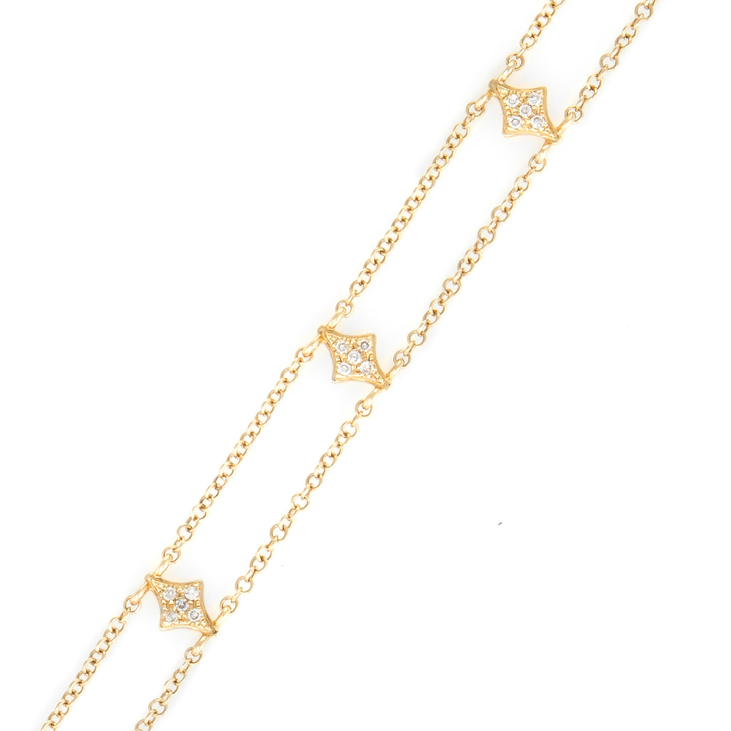 Kite Double Diamond Strand Bracelet | 14k Yellow Gold | White Diamonds | The Storm Jewelry | Fine Jewelry Made in Los Angeles - committed to empowering female equality, celebrating forever friendships & championing future generations of women.