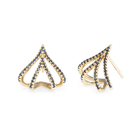 Double V Diamond Huggies | 14k Yellow Gold | The Storm Jewelry | Fine Jewelry Made in Los Angeles - committed to empowering female equality, celebrating forever friendships & championing future generations of women.