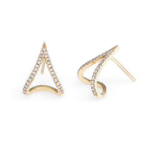 V Diamond Huggies | Yellow Gold, White Diamonds | The Storm Jewelry | Fine Jewelry Made in Los Angeles - committed to empowering female equality, celebrating forever friendships & championing future generations of women.