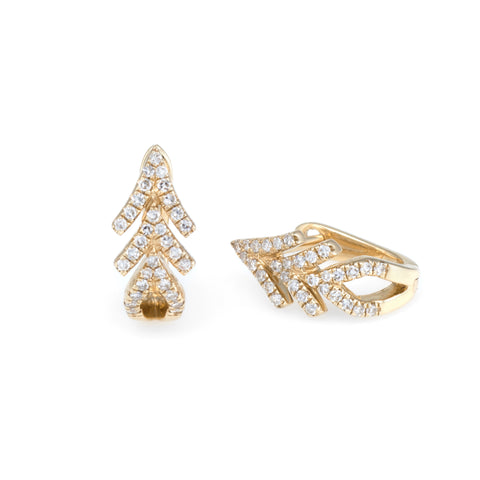 Arrow Diamond Huggies | Yellow Gold | The Storm Jewelry  | Fine Jewelry Made in Los Angeles - committed to empowering female equality, celebrating forever friendships & championing future generations of women.