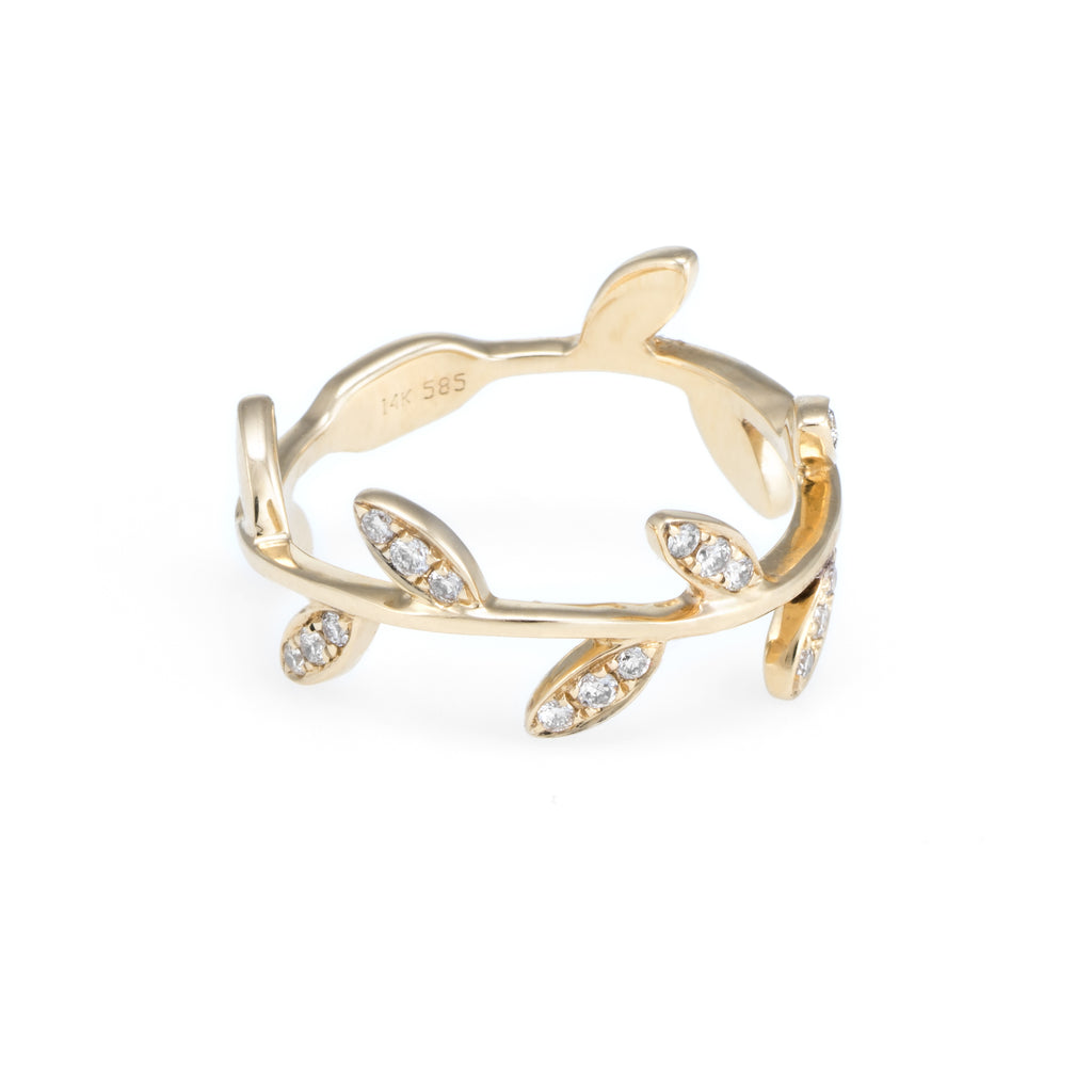 Children's Diamond Leaf Ring | Yellow Gold | The Storm Jewelry | Fine Jewelry Made in Los Angeles - committed to empowering female equality, celebrating forever friendships & championing future generations of women.