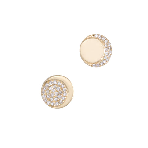 Moon Phase Diamond Earrings | 14k Yellow Gold | White Diamonds | The Storm Jewelry | Fine Jewelry Made in Los Angeles - committed to empowering female equality, celebrating forever friendships & championing future generations of women.