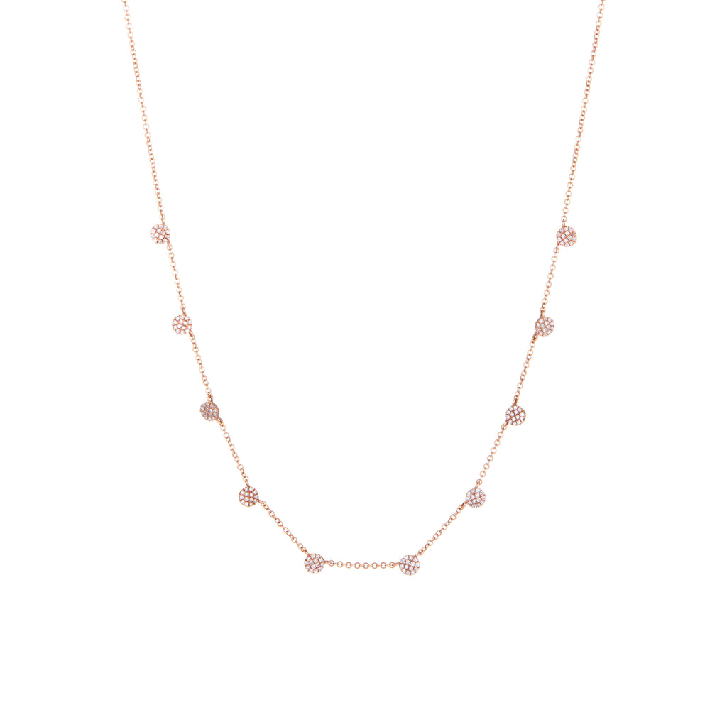 Diamond Disc Necklace | 14k Rose Gold | The Storm Jewelry | Fine Jewelry Made in Los Angeles - committed to empowering female equality, celebrating forever friendships & championing future generations of women.