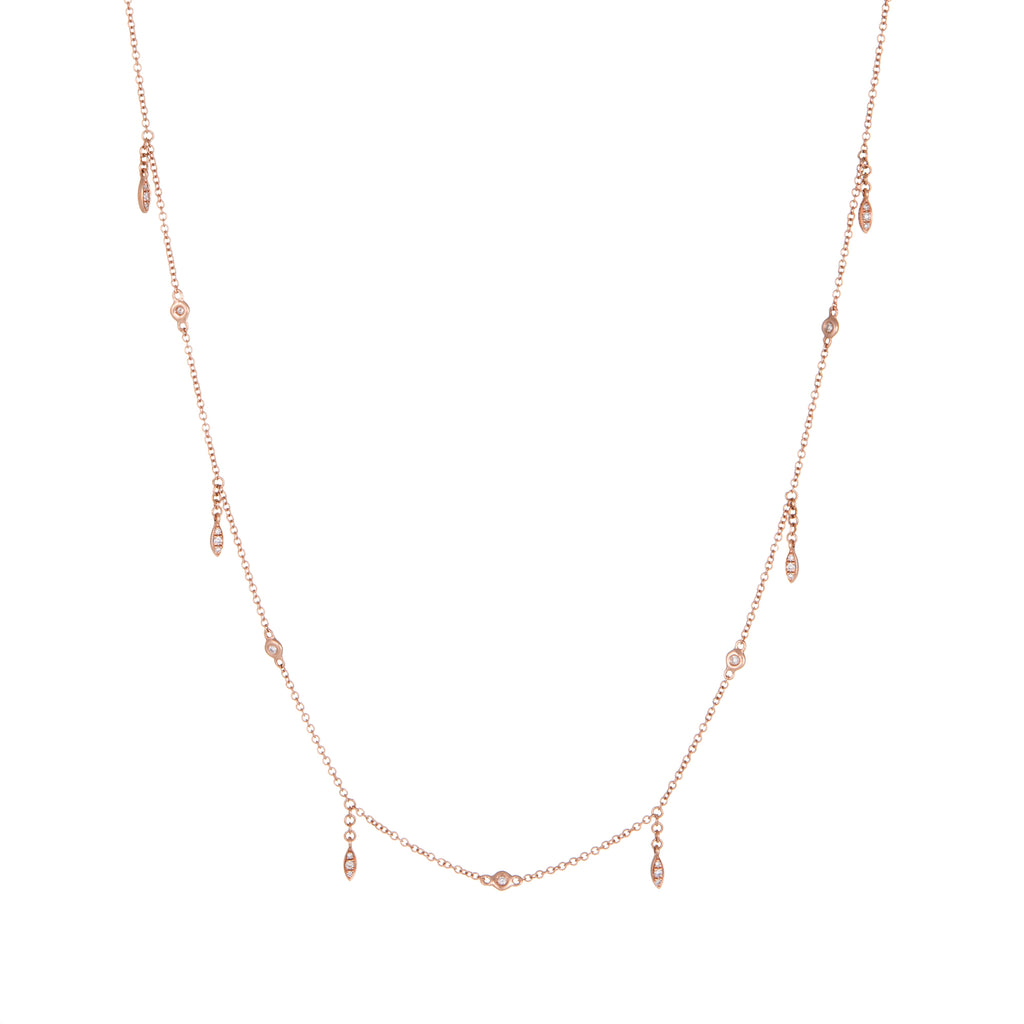 Diamond Bezel Charm Necklace | 14k Rose Gold | The Storm Jewelry | Fine Jewelry Made in Los Angeles - committed to empowering female equality, celebrating forever friendships & championing future generations of women.