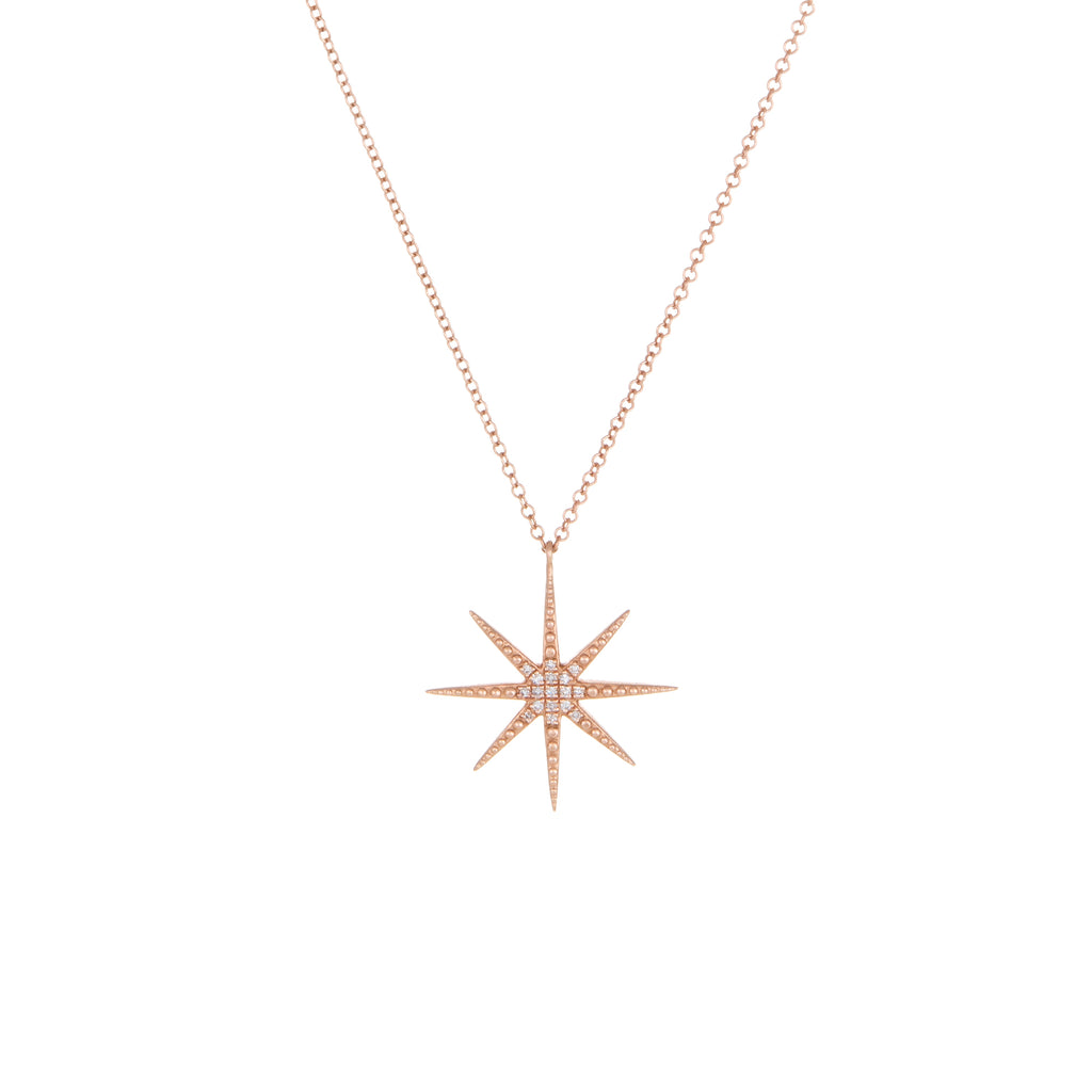 Starburst Diamond Necklace | 14k Rose Gold | The Storm Jewelry | Fine Jewelry Made in Los Angeles - committed to empowering female equality, celebrating forever friendships & championing future generations of women.