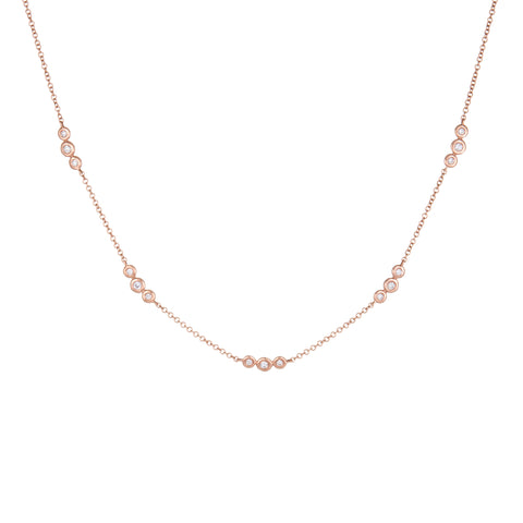 Diamond Bezel Chain Necklace | 14k Rose Gold | The Storm Jewelry | Fine Jewelry Made in Los Angeles - committed to empowering female equality, celebrating forever friendships & championing future generations of women.