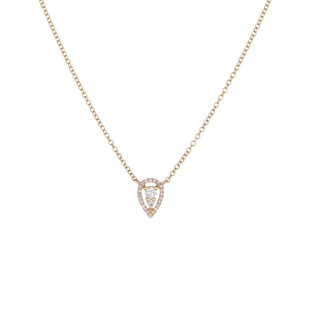 Raindrop Diamond Necklace | 14k Yellow Gold, White Diamonds | The Storm Jewelry | Fine Jewelry Made in Los Angeles - committed to empowering female equality, celebrating forever friendships & championing future generations of women.