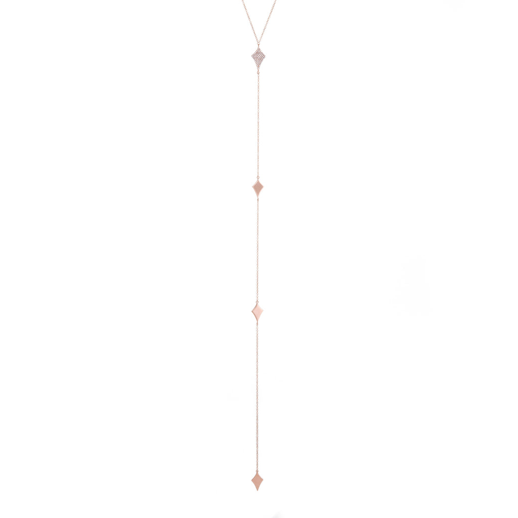 Diamond Kite Lariat | 14k Rose Gold | The Storm Jewelry | Fine Jewelry Made in Los Angeles - committed to empowering female equality, celebrating forever friendships & championing future generations of women.