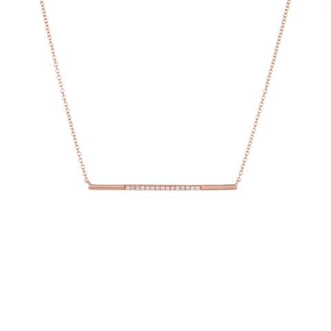 Diamond Bar Necklace | 14k Rose Gold | The Storm Jewelry | Fine Jewelry Made in Los Angeles - committed to empowering female equality, celebrating forever friendships & championing future generations of women.