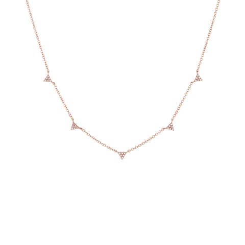 Mini Triangle Diamond Necklace | 14k Rose Gold | White Diamonds | The Storm Jewelry | Fine Jewelry Made in Los Angeles - committed to empowering female equality, celebrating forever friendships & championing future generations of women.