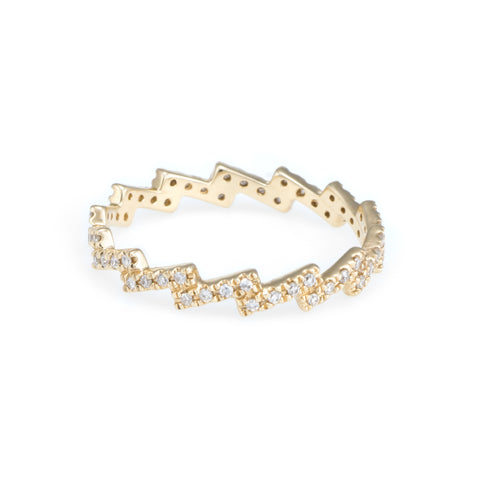 Lightning Diamond Eternity Ring | 14k Yellow Gold | White Diamonds | The Storm Jewelry | Fine Jewelry Made in Los Angeles - committed to empowering female equality, celebrating forever friendships & championing future generations of women.