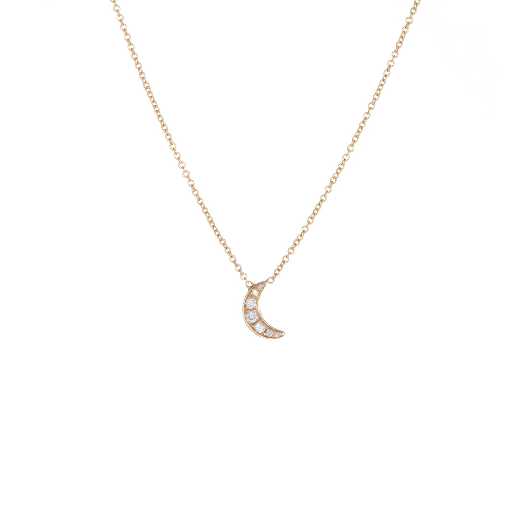 Children's Diamond Moon Necklace | Yellow Gold | The Storm Jewelry | Fine Jewelry Made in Los Angeles - committed to empowering female equality, celebrating forever friendships & championing future generations of women.