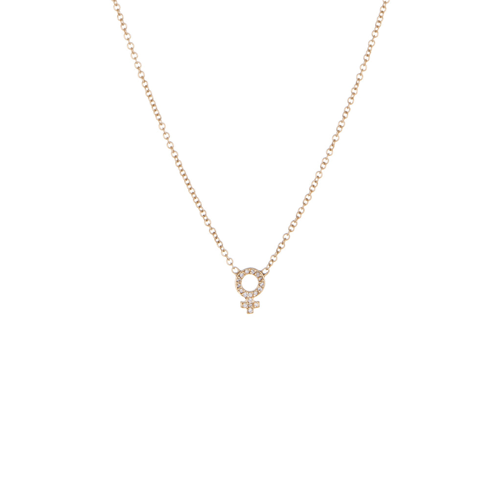 Venus Diamond Charm Necklace | Yellow Gold, White Diamonds | The Storm Jewelry | Equality Collection | Fine Jewelry Made in Los Angeles - committed to empowering female equality, celebrating forever friendships & championing future generations of women.