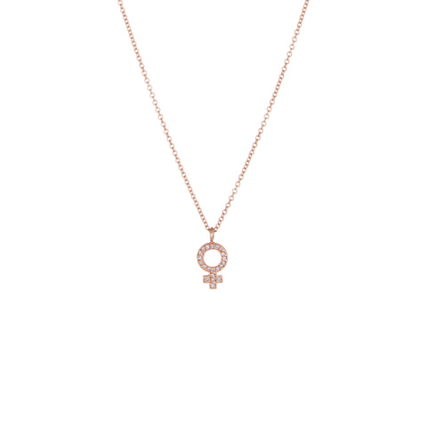 Venus Diamond Pendant Necklace | Rose Gold, White Diamonds | The Storm Jewelry | Equality Collection | Fine Jewelry Made in Los Angeles - committed to empowering female equality, celebrating forever friendships & championing future generations of women.