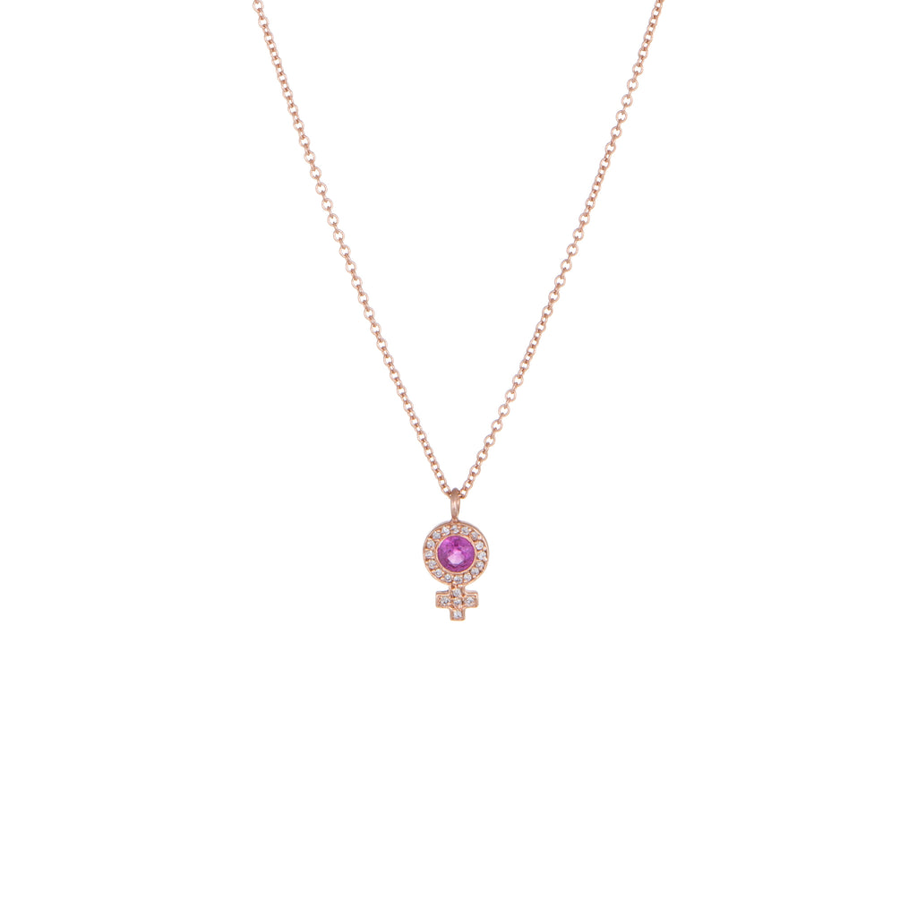 Venus Ruby & Diamond Pendant Necklace | 14k Rose Gold, Ruby & White Diamonds | The Storm Jewelry | Equality Collection | Fine Jewelry Made in Los Angeles - committed to empowering female equality, celebrating forever friendships & championing future generations of women.