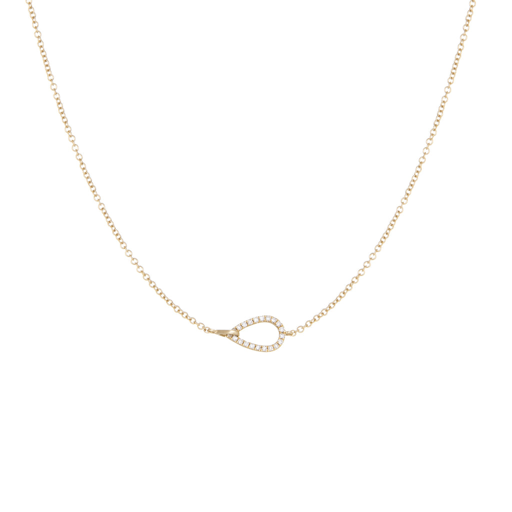 Open Raindrop Diamond Necklace | 14k Yellow Gold | White Diamonds | The Storm Jewelry | Fine Jewelry Made in Los Angeles - committed to empowering female equality, celebrating forever friendships & championing future generations of women.