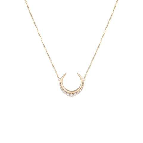 Crescent Moon Diamond Necklace | 14k Yellow Gold | The Storm Jewelry | Fine Jewelry Made in Los Angeles - committed to empowering female equality, celebrating forever friendships & championing future generations of women.
