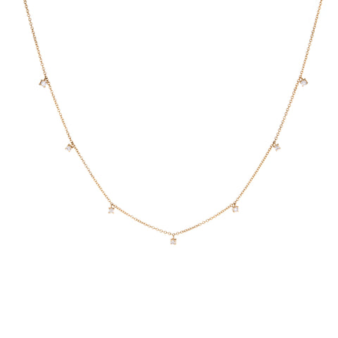 Multi-Prong Diamond Necklace (Small) | 14k Yellow Gold | White Diamonds | The Storm Jewelry | Fine Jewelry Made in Los Angeles - committed to empowering female equality, celebrating forever friendships & championing future generations of women.