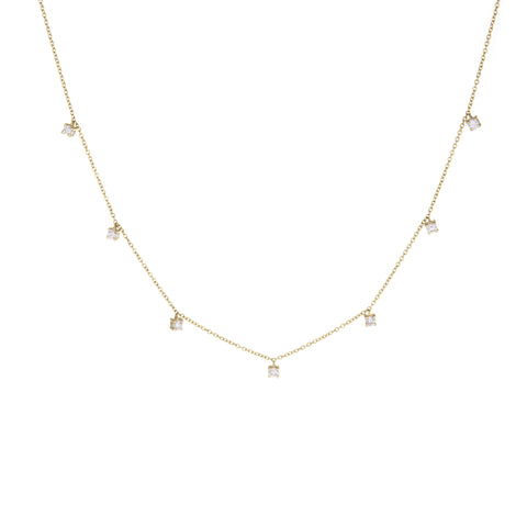 Multi-Prong Diamond Necklace (Large) | 14k Yellow Gold | White Diamonds | The Storm Jewelry | Fine Jewelry Made in Los Angeles - committed to empowering female equality, celebrating forever friendships & championing future generations of women.
