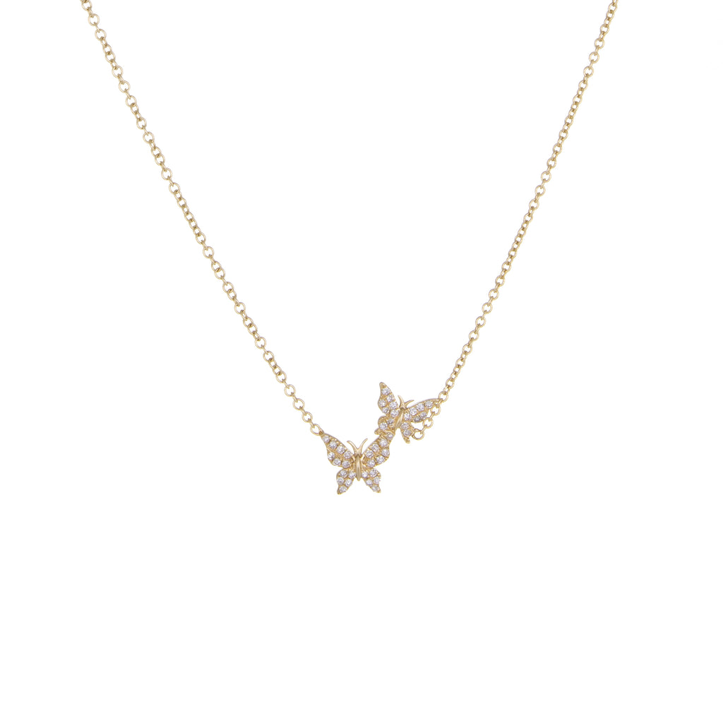 Double Butterfly Diamond Necklace | 14k Yellow Gold | The Storm Jewelry | Fine Jewelry Made in Los Angeles - committed to empowering female equality, celebrating forever friendships & championing future generations of women.