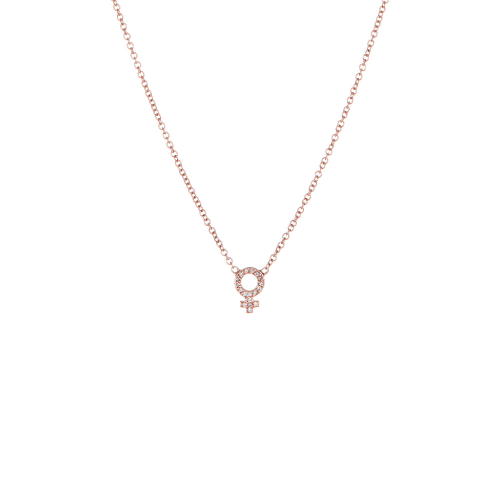 ef6f803de ... Venus Diamond Charm Necklace | Rose Gold, White Diamonds | The Storm  Jewelry | Equality ...