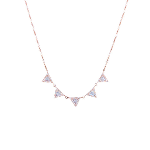 Moonstone and Diamond Triangles Necklace | 14k Rose Gold | White Diamonds | The Storm Jewelry | Fine Jewelry Made in Los Angeles - committed to empowering female equality, celebrating forever friendships & championing future generations of women.