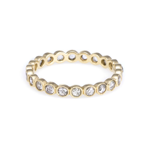 Rose Cut Diamond Eternity Ring | 14k Yellow Gold, Rose Cut White Diamonds | The Storm Jewelry | Fine Jewelry Made in Los Angeles - committed to empowering female equality, celebrating forever friendships & championing future generations of women.