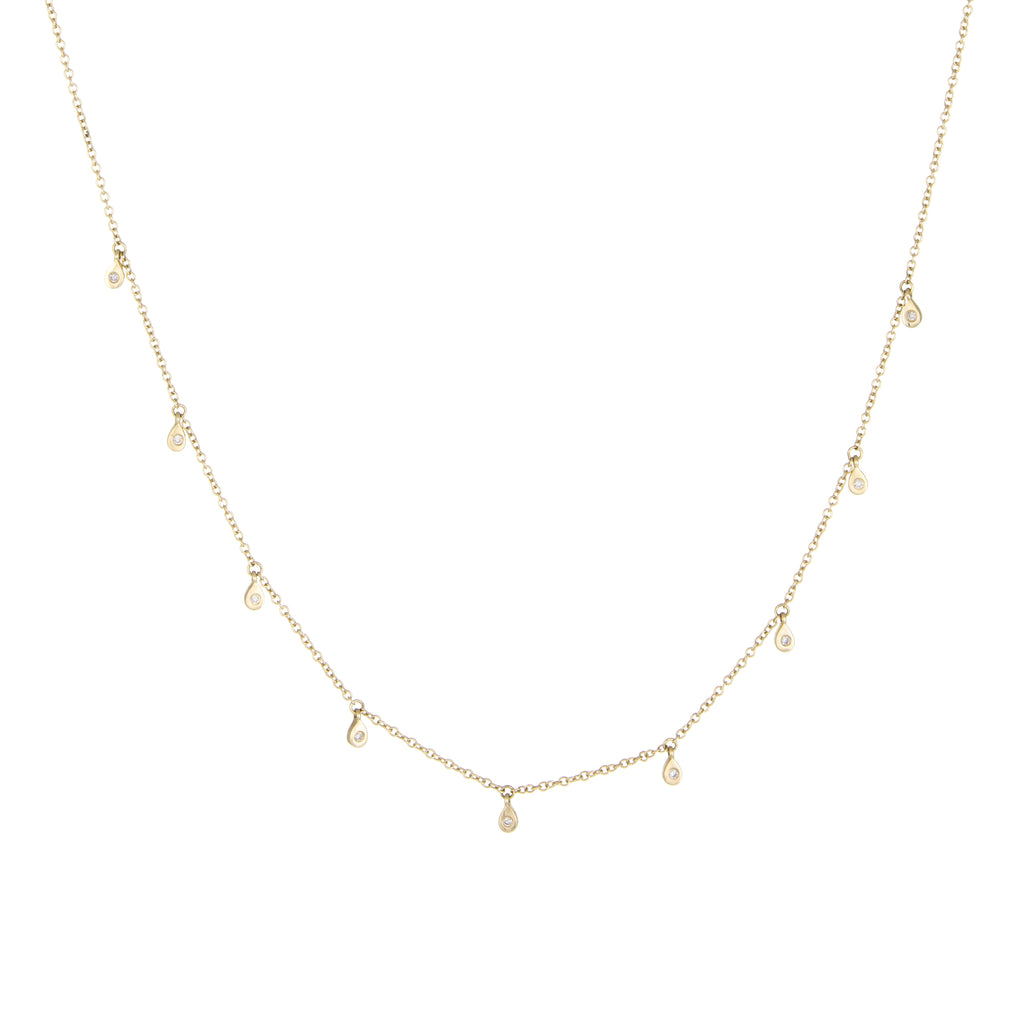Mini Raindrop Diamond Necklace | 14k Yellow Gold | White Diamonds | The Storm Jewelry | Fine Jewelry Made in Los Angeles - committed to empowering female equality, celebrating forever friendships & championing future generations of women.