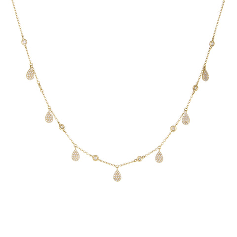 Rainstorm Diamond Necklace | 14k Yellow Gold, White Diamonds | The Storm Jewelry | Fine Jewelry Made in Los Angeles - committed to empowering female equality, celebrating forever friendships & championing future generations of women.