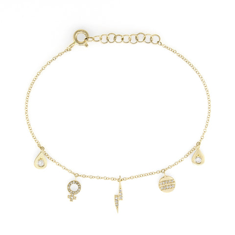 The Storm Diamond Charm Bracelet | 14k Yellow Gold | The Storm Jewelry | Fine Jewelry Made in Los Angeles - committed to empowering female equality, celebrating forever friendships & championing future generations of women.