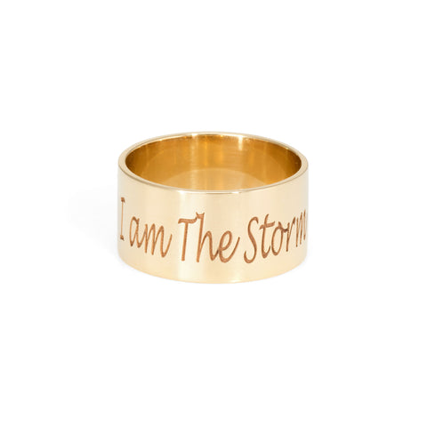 Custom Cigar Band I am The Storm The Storm Jewelry Los Angeles 14k Yellow Gold Ring