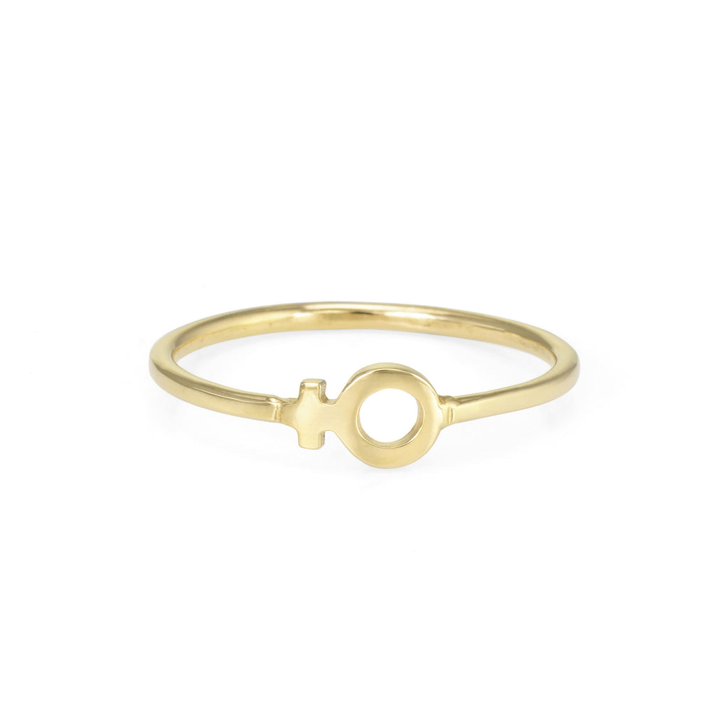Venus Ring The Storm Jewelry Los Angeles 14k Yellow Gold Stacker Ring Venus Symbol Female Empowerment