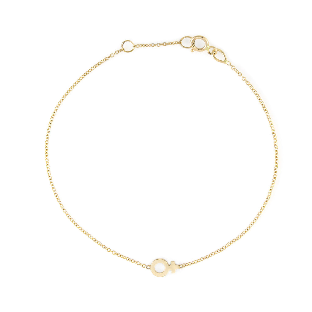 Venus Charm Bracelet The Storm Jewelry Los Angeles 14k Yellow Gold Equality Collection Venus Symbol
