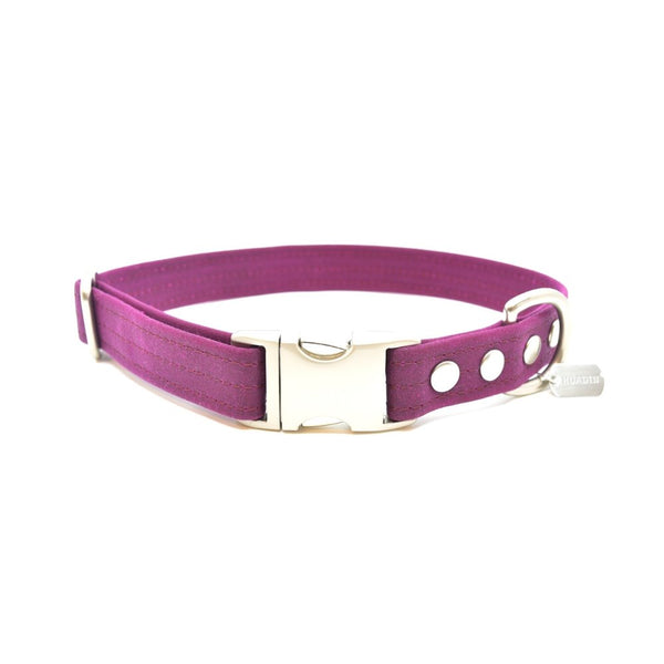 Berry Waxed Canvas Dog Collar - Hoadin