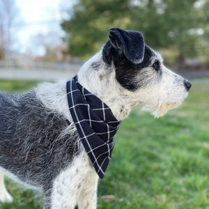Black Plaid Linen Bandana - Hoadin