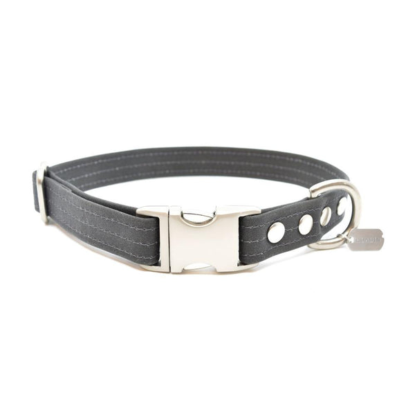 Charcoal Waxed Canvas Dog Collar - Hoadin