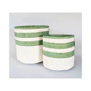 Jade Striped Cork & Canvas Dog Toy Bin - Hoadin