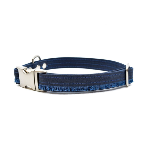 Midnight Fringe Waxed Canvas Dog Collar - Hoadin