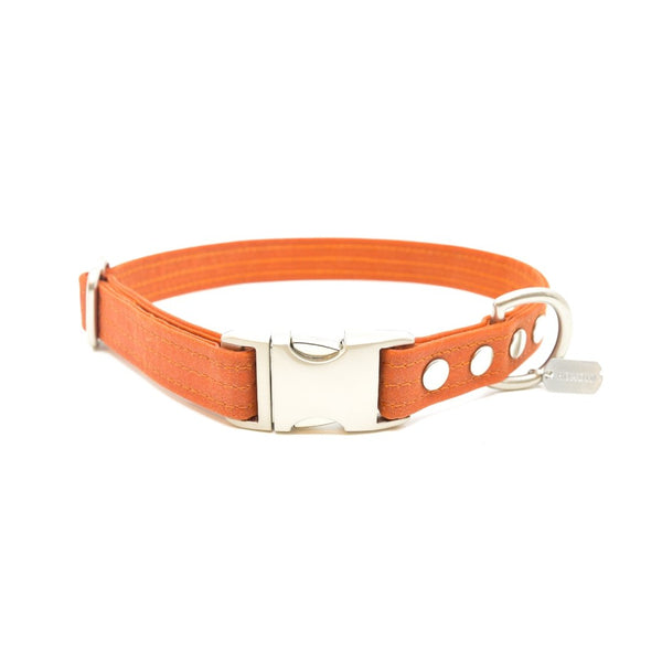Orange Waxed Canvas Dog Collar - Hoadin