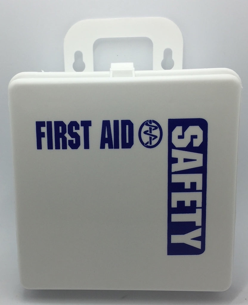 "Empty Poly White boxes First Aid - Safety printed on front 5"" x 5"" x 2.5"""