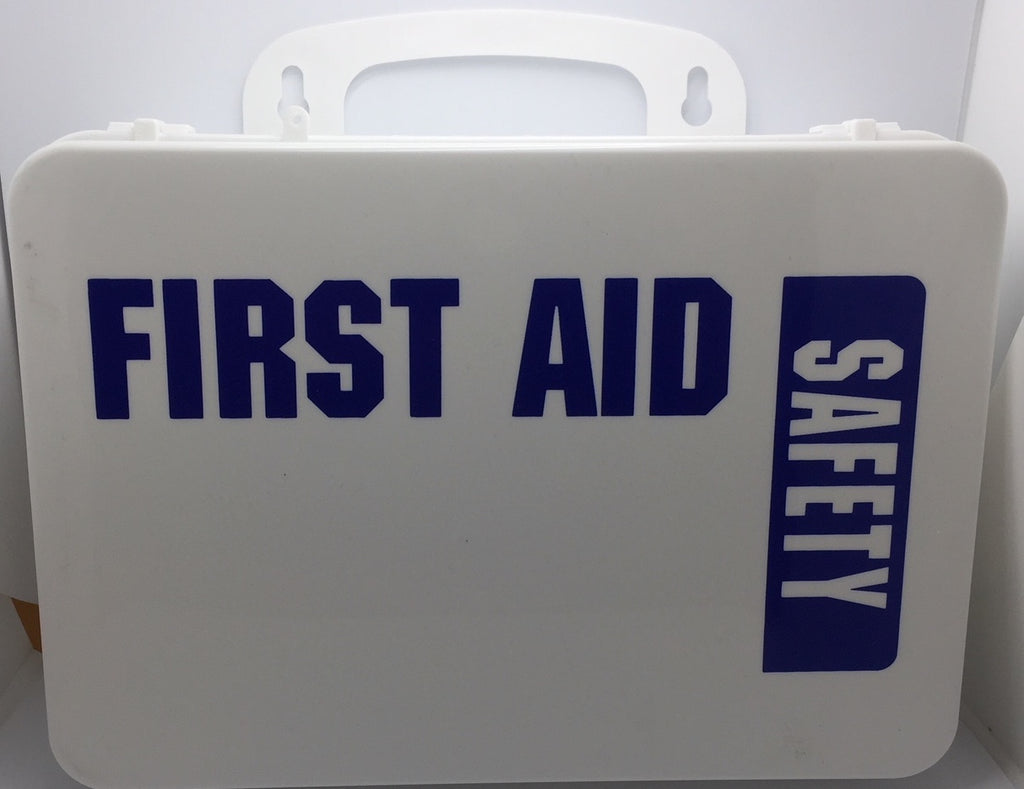 Empty Poly White boxes 16PW First Aid - Safety printed on front panel