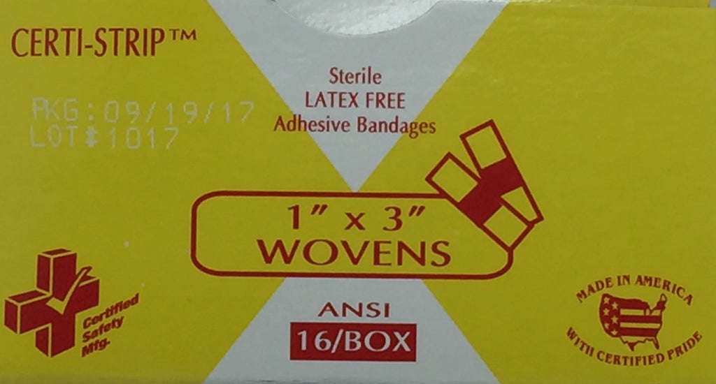 "Adhesive Bandages Woven Heavy Weight - 1"" x 3"" - 16/units -Certi-Strips 609-ANSI 210-007"