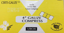 "Gauze Bandage Compress - 4"" x 4"" - Certi-Gauze Compress - Certified (211-008)"