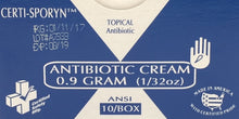 Antibiotic Cream - 663 - Certi-Sporyn - .9g - 10/unit - ANSI   Certified 213-011