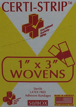 "Adhesive Bandages- Woven Heavy Weight - 1"" x 3"" - Certi-Strips - Certified (220-260) 50/box"