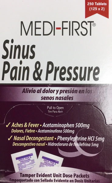 Medi-First 81948 Sinus and Pressure Relief Tablets, 125-Packets of 2