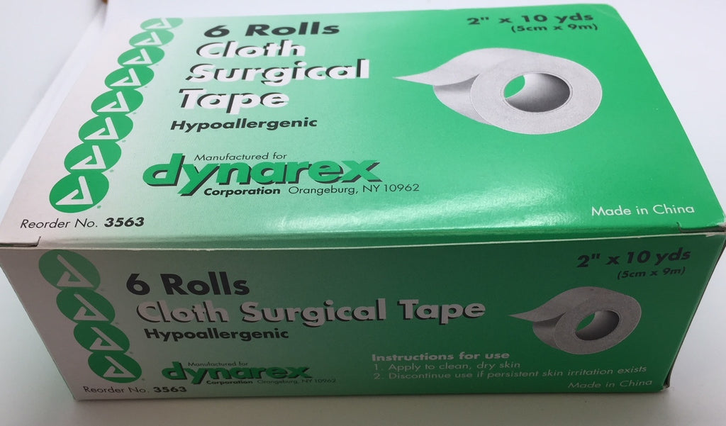 "Cloth Surgical Tape Hypoallergenic 2"" x 10 yds 6/Box dynarex 3563"
